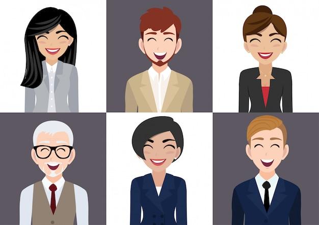 Gelukkig werkplek met lachende mannen en vrouwen stripfiguur in kantoorkleding Premium Vector