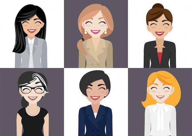 Gelukkig werkplek met lachende vrouwen stripfiguur in kantoorkleding Premium Vector