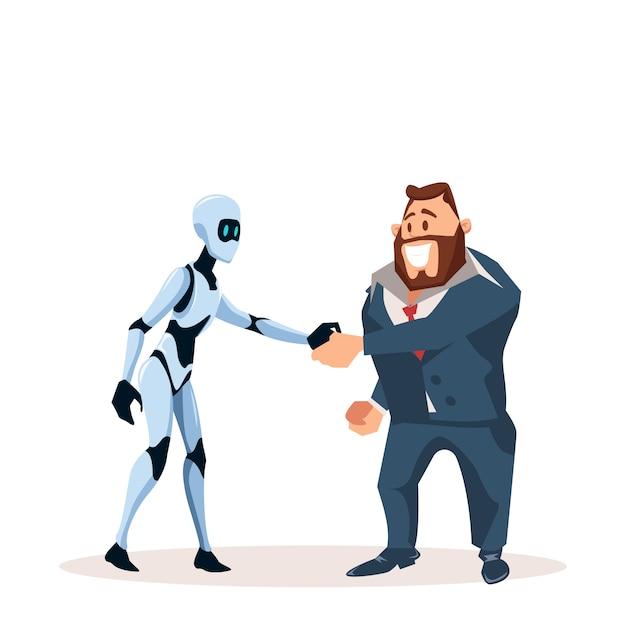 Gelukkig zakenman in pak en robot hand schudden Premium Vector