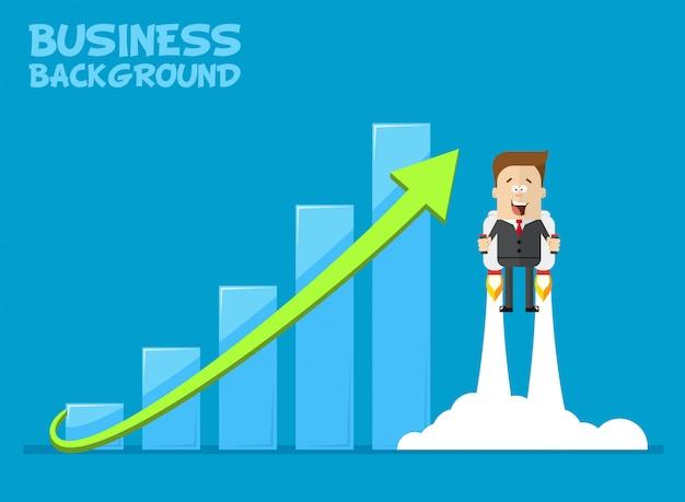 Gelukkig zakenman of manager vliegen op jetpacks naar zijn doel. groei van de economie. investeringen omhoog. Premium Vector