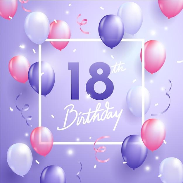 Gelukkige 18e verjaardag achtergrond met realistische ballonnen Premium Vector