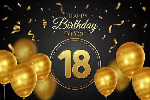 Gelukkige 18e verjaardag achtergrond met realistische ballonnen Gratis Vector