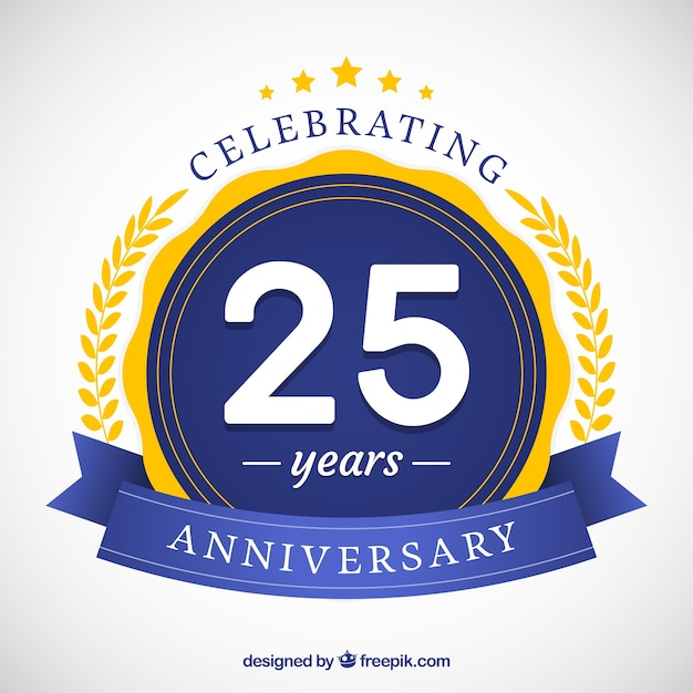 Gelukkige 25ste verjaardag achtergrond in vlakke stijl Gratis Vector