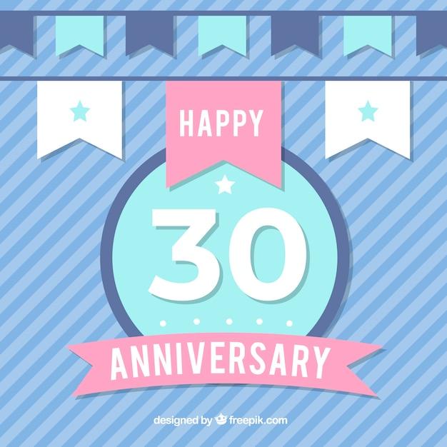 Gelukkige 30ste verjaardag achtergrond in vlakke stijl Gratis Vector