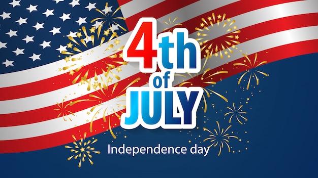 Gelukkige 4 van juli vakantie banner. amerikaanse onafhankelijkheidsdag Premium Vector