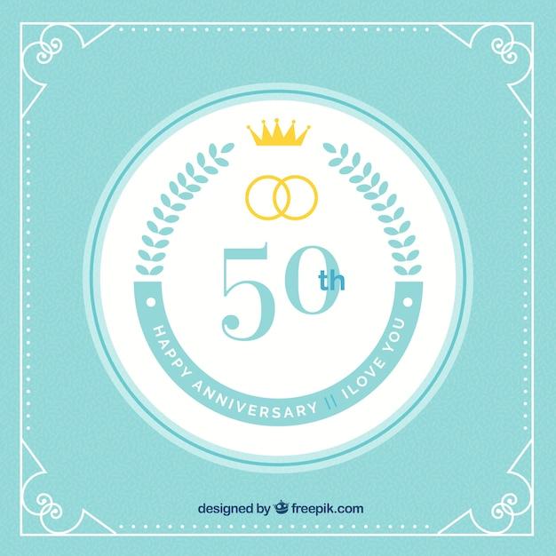 Gelukkige 50ste verjaardagsachtergrond met ringen Gratis Vector