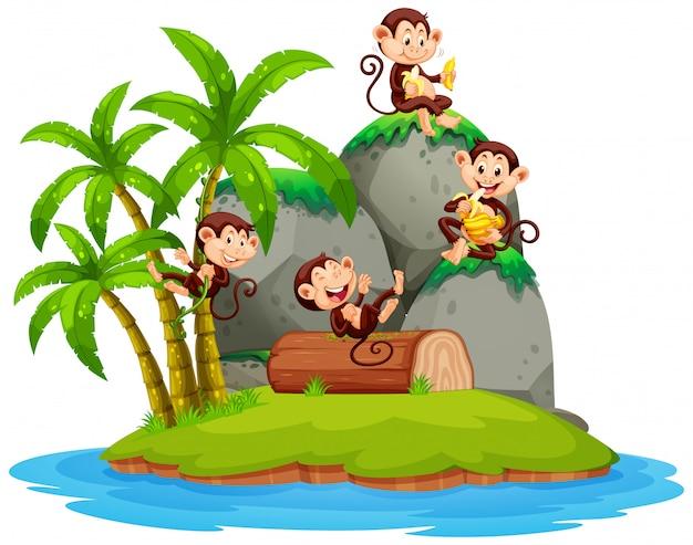 Gelukkige aap op geïsoleerd eiland Premium Vector