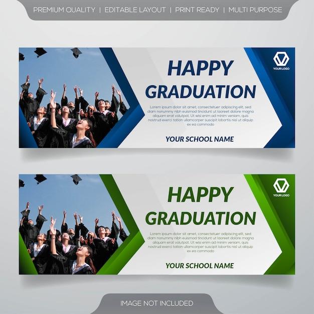 Gelukkige afstuderen sjabloon voor spandoek Premium Vector