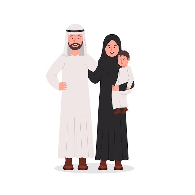 Gelukkige arabische familie ouders en zoon samen Premium Vector