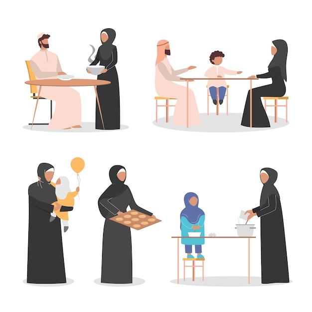 Gelukkige arabische familie pend tijd samen thuis set. moslimkarakter in arabische kleding. traditionele familie. Premium Vector