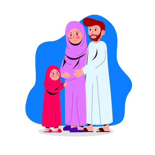 Gelukkige arabische familieillustratie Premium Vector