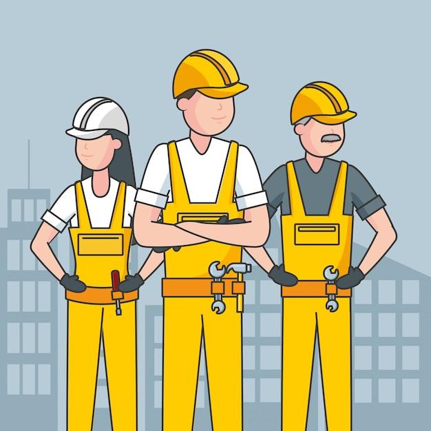 Gelukkige arbeiders van de arbeidsdag en een stad voor backfroundillustratie Gratis Vector