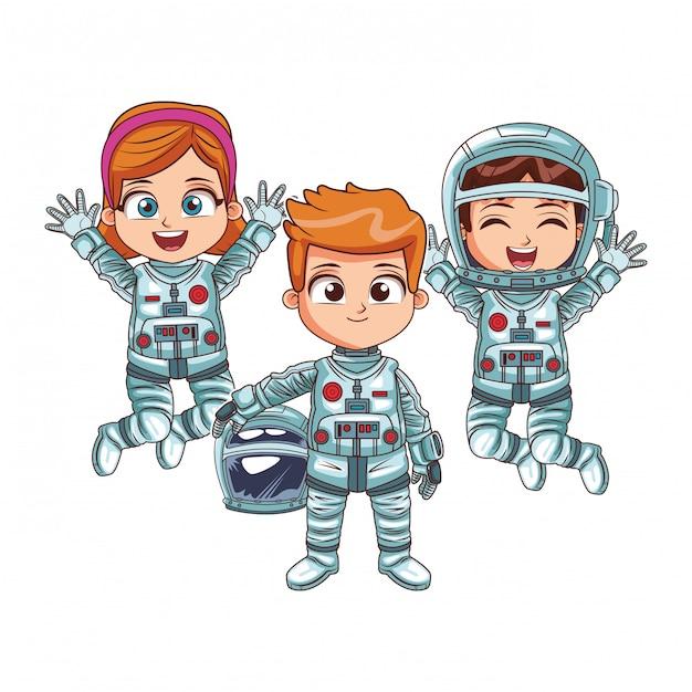 Gelukkige astronauten kinderen Premium Vector