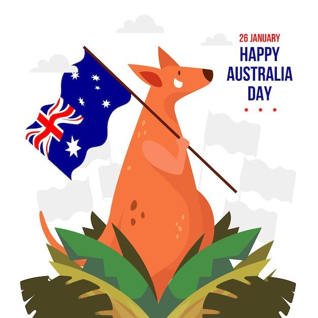 Gelukkige australische dag met kangoeroe Gratis Vector