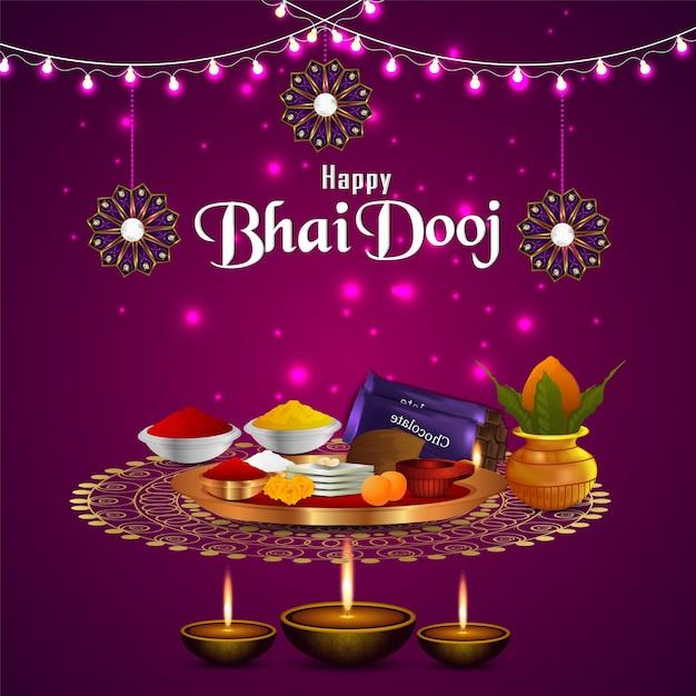 Gelukkige bhai dooj festivalvieringskaart met puja thali Premium Vector