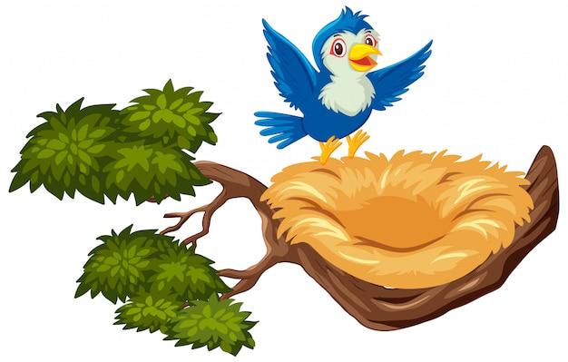 Gelukkige blauwe vogel die naar leeg nest vliegt Premium Vector