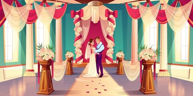 Gelukkige bruid en bruidegom knuffelen, op zoek in elkaars ogen Gratis Vector