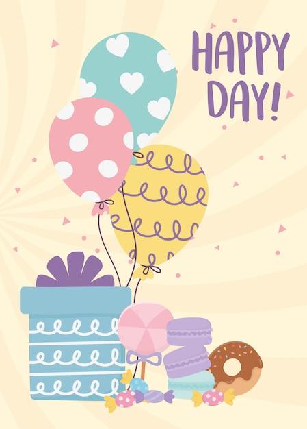 Gelukkige dag, cadeau ballonnen donut karamel koekjes cartoon afbeelding Premium Vector