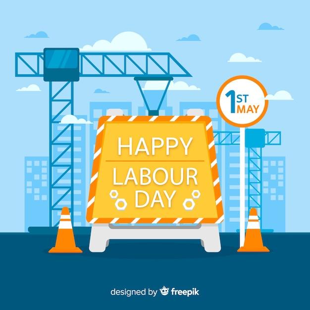 Gelukkige dag van de arbeid achtergrond Gratis Vector