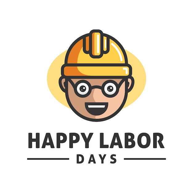 Gelukkige dag van de arbeid logo ontwerp vector sjabloon Premium Vector