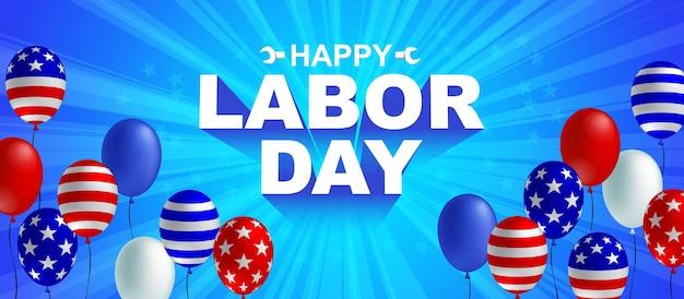 Gelukkige dag van de arbeid viering banner Premium Vector