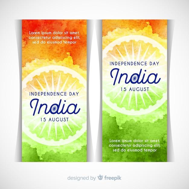 Gelukkige dag van de onafhankelijkheid van india banners Gratis Vector