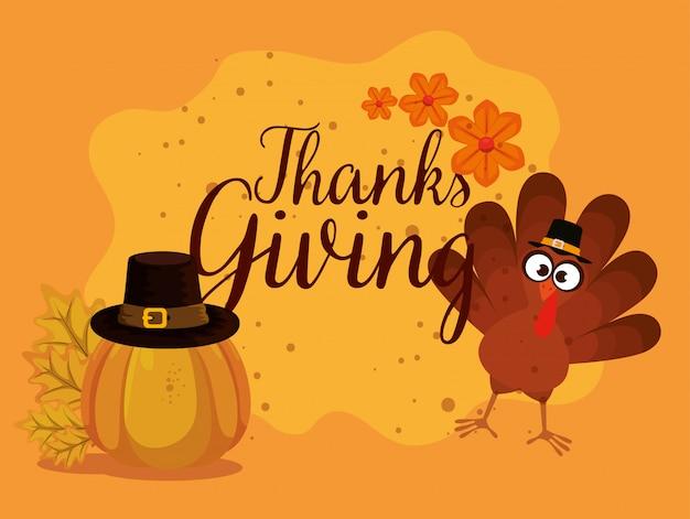 Gelukkige dank die kaart met turkije geeft Gratis Vector