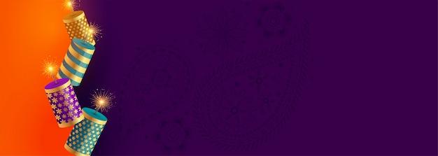 Gelukkige de crackersbanner van het diwalifestival met tekstruimte Gratis Vector