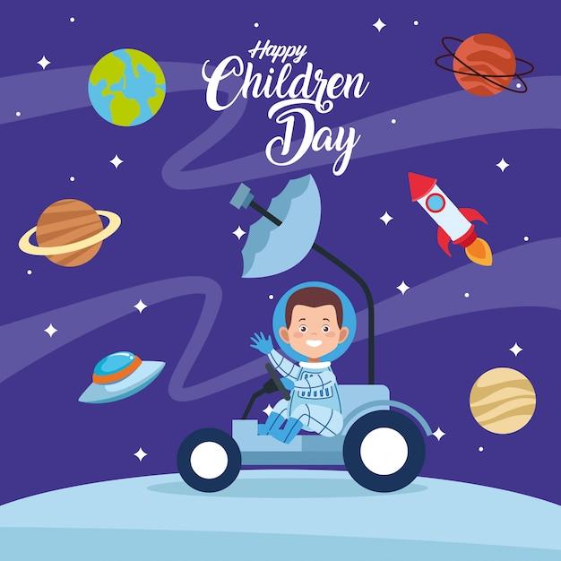 Gelukkige de groetkaart van de kinderendag met jongen in de ruimte Premium Vector