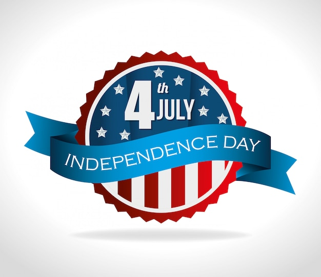 Gelukkige de onafhankelijkheidsdag van verenigde staten, 4 juli viering Gratis Vector