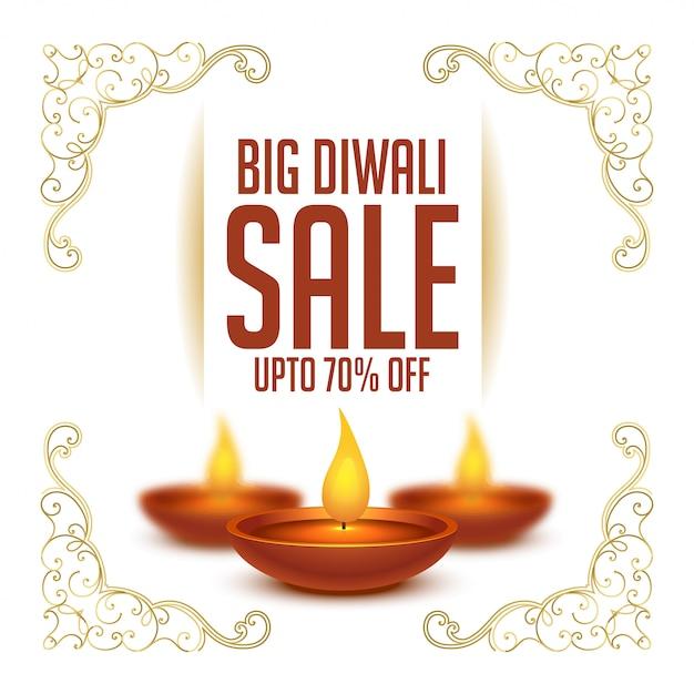 Gelukkige de verkoopachtergrond van het diwalifestival met realistische diya Gratis Vector