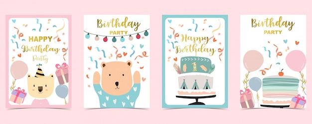 Gelukkige die verjaardagskaarten met cake, confettien, ballon worden geplaatst Premium Vector