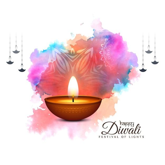Gelukkige diwali-achtergrond van de festival colorufl viering met diya Gratis Vector