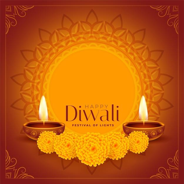 Gelukkige diwali decoratieve diya en bloemenachtergrond Gratis Vector