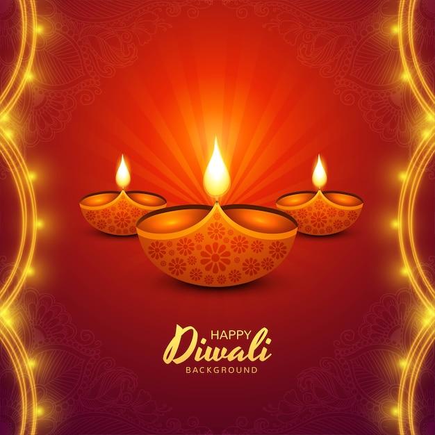 Gelukkige diwali diya lampen vakantie kaart viering poster achtergrond Gratis Vector