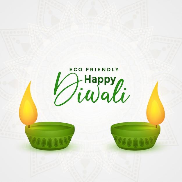 Gelukkige diwali eco-vriendelijke festival diya Gratis Vector