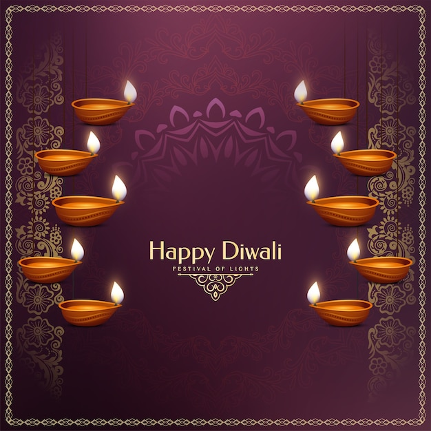 Gelukkige diwali-festival decoratieve achtergrond met hangende lampen Gratis Vector