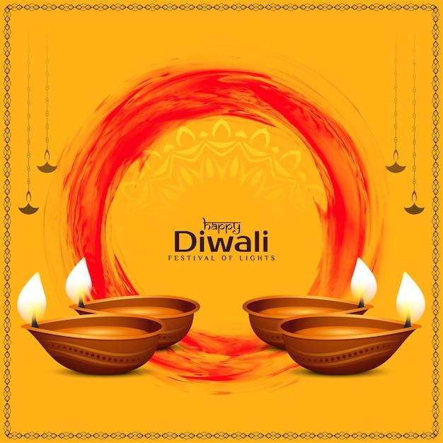 Gelukkige diwali-festival die etnische achtergrond met lampen begroeten Gratis Vector