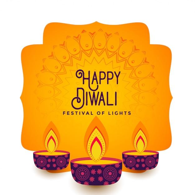 Gelukkige diwali-festivalachtergrond Gratis Vector
