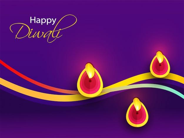 Gelukkige diwali-groetkaart met hoogste mening van verlichte olielamp (diya) die op paars wordt verfraaid. Premium Vector