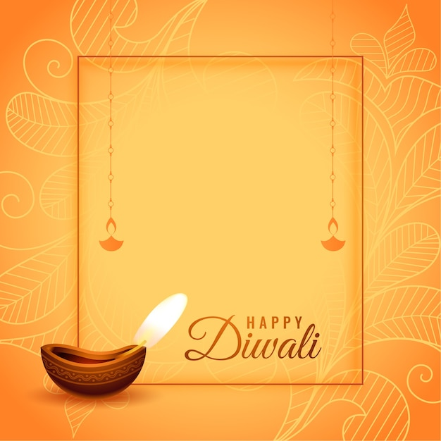 Gelukkige diwali hindoe festival wensen kaart Gratis Vector