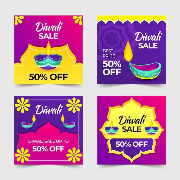 Gelukkige diwali instagram verkoopposten met kaarsen Gratis Vector