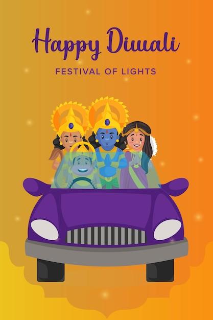 Gelukkige diwali-sjabloon voor flyer en poster Premium Vector