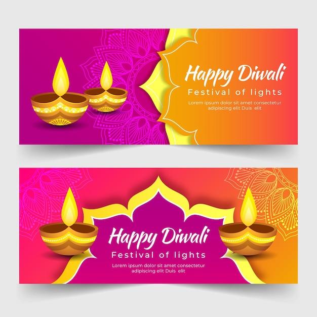 Gelukkige diwali-sjabloon voor spandoek met kaarsen Gratis Vector