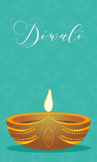 Gelukkige diwali-viering belettering met kaars Premium Vector