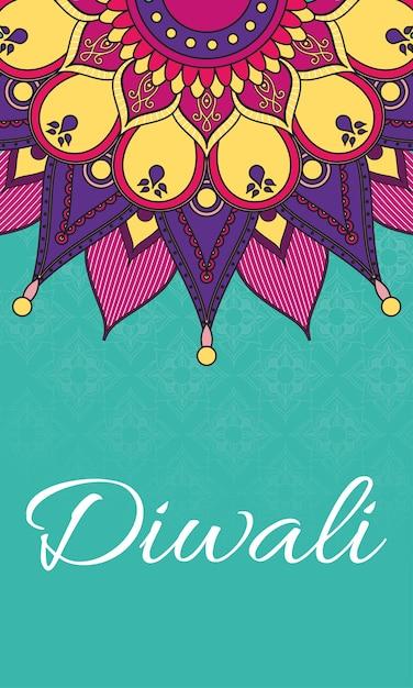 Gelukkige diwali-viering belettering met mandala-decoratie Premium Vector