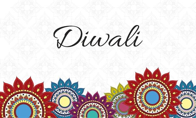 Gelukkige diwali-viering belettering met mandala's decoratie rand Premium Vector