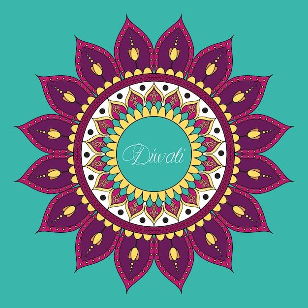 Gelukkige diwali-viering met mandala-decoratie Premium Vector