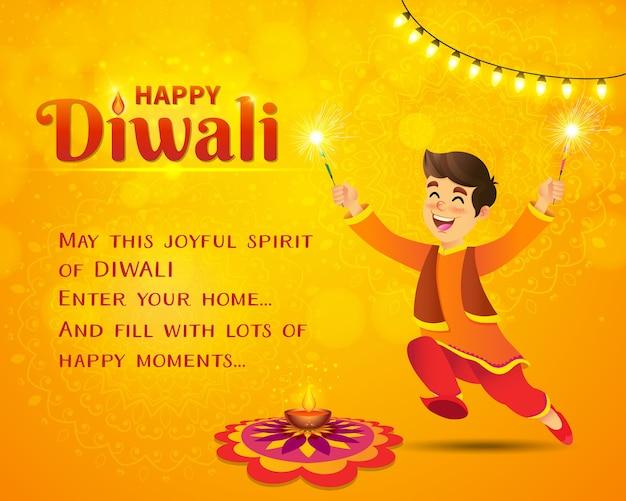 Gelukkige diwali-wenskaart. schattige cartoon indiase jongen in traditionele kleding springen en spelen Premium Vector