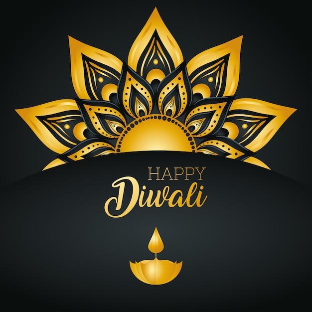 Gelukkige diwalikaart met diya-kaars en gouden mandala Premium Vector